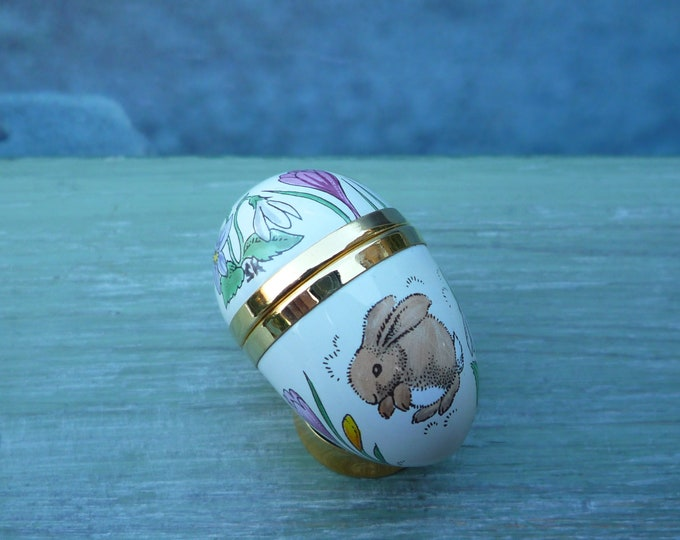 Crummles Enamels Trinket Box, Easter Egg with Rabbits & Spring Flowers