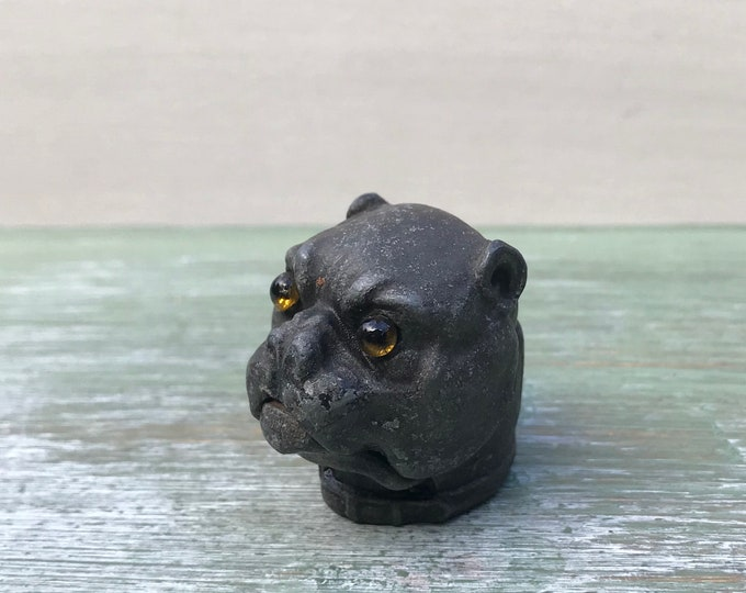 Antique Miniature Bulldog Head Novelty Inkwell Lid, Lead Alloy Dog