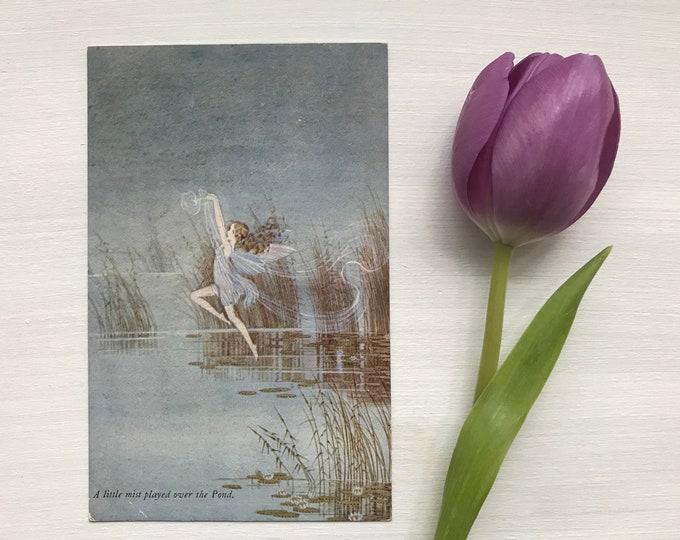 "1930s Ida Outhwaite Fairy Postcard ""A Little Mist Played Over the Pond"""