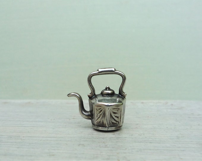 Vintage Silver Tea Kettle Charm or Small Pendant, Dolls House Teapot