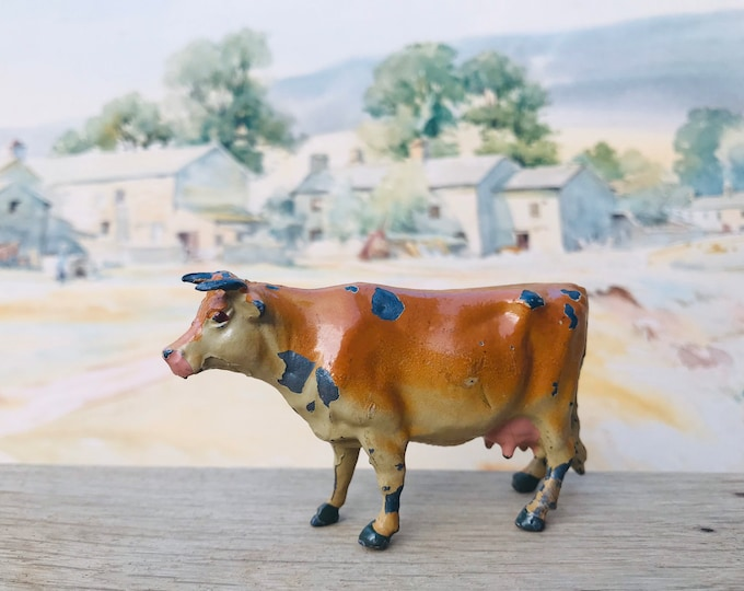 Vintage Britains Lead Farm Miniature Jersey Cow ref 599, Animal Figure