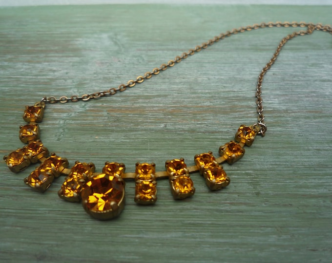 1950s Amber Glass Choker Necklace, Yellow Diamante Vintage Jewellery