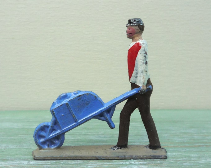 Vintage CBG Mignot Civilian, French Lead Farm Figure with Wheelbarrow