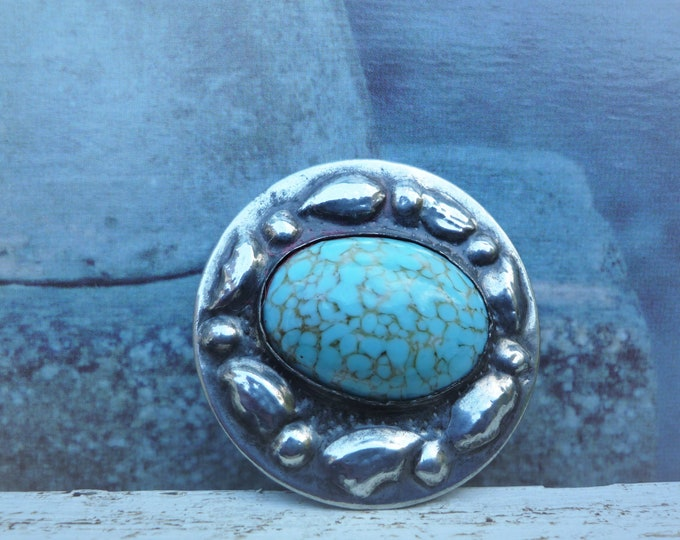 Arts and Crafts Brooch with Turquoise Cabochon, Hammered Pewter Set Ruskin Style Vintage Jewellery