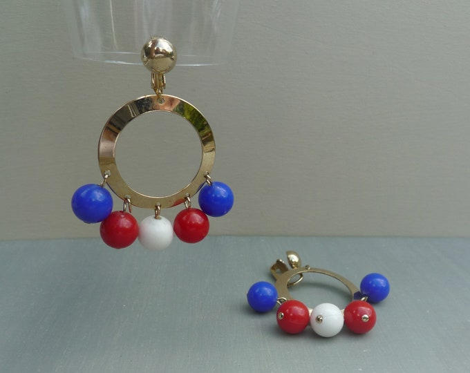 Sarah Coventry Red White & Blue Mid Century Hoop Earrings, Dangle Beads