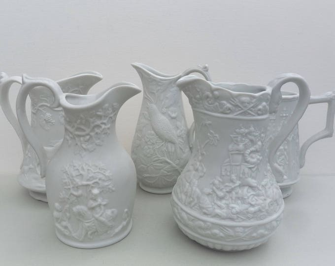 Vintage Portmeirion Parian Ware Jugs, Small White Vase, British Heritage Collection