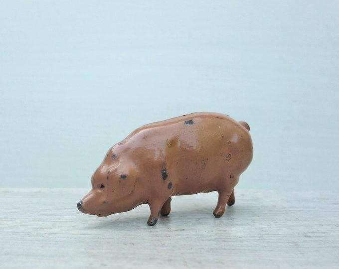 W Britains Ltd Miniature Lead Pig Feeding ref 514, Vintage Farm Animal