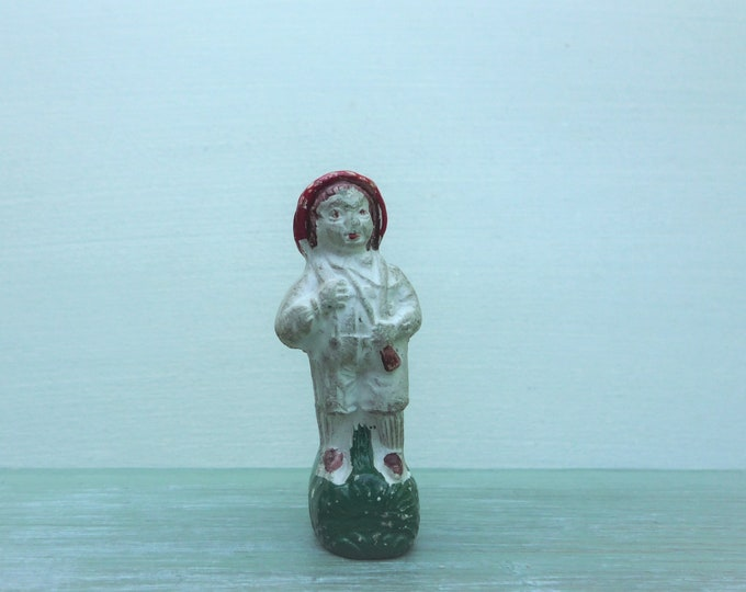 Victorian Novelty Whistle, German Porcelain Bisque Miniature Figurine