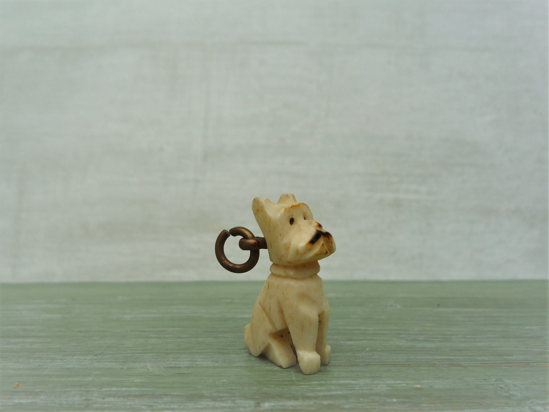 Antique Carved Bone Charm Miniature Scottie Dog Curio Doll House Pet