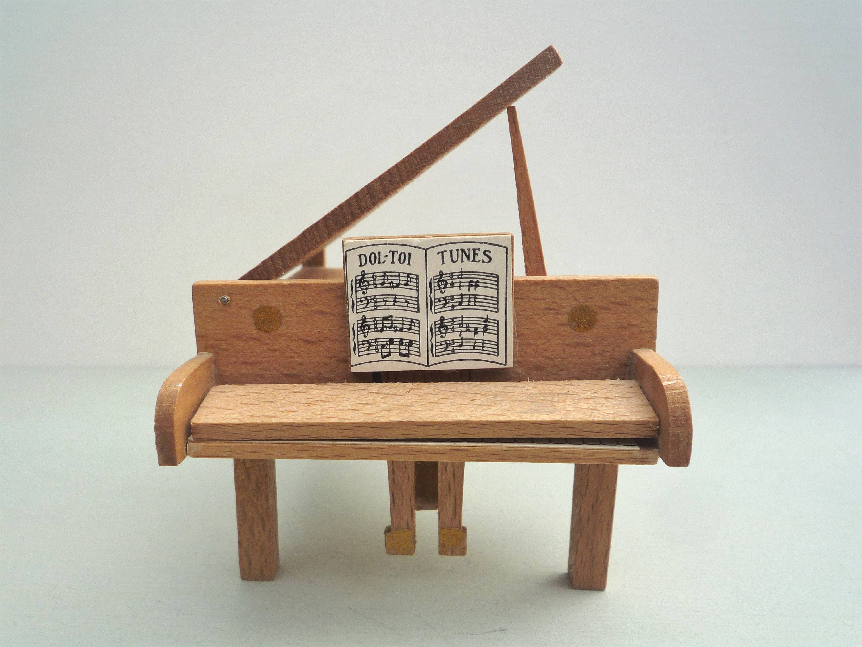 Dol Toi Grand Piano, Vintage Dolls House Miniature Wood Furniture 1/16 Scale