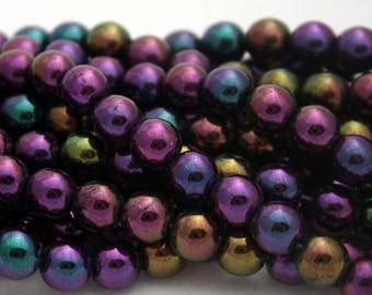 25 Czech Round Glass Beads in Iris Purple - 8 mm