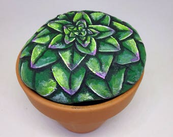 How to paint stones with succulents