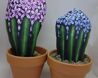 How to paint stones with hyacinths