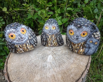 How to paint rocks with owl