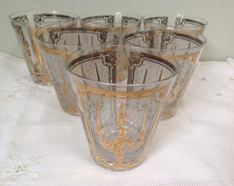 Set of 6 Mid-Century Georges Briard Signed 22k Gold Accented Bar Glasses