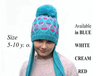 EAR FLAP HAT Pom Pom, Knit Girl Hat with Long ear Flaps, Earflap Beanie, Teen Girl Hat, Winter Earflap Hat, Girls Winter Hat, Beanie