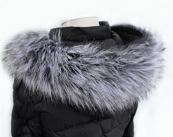 Fur trim,Hood Trim detachable,Fur Accessory Fur collar Trim for hood,Fur Trim Stripe Lovely Fox Fur Small Collar Mint Green Color
