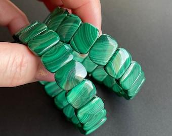 2 PCs malachite Gemstone Natural Malachite Rectangle Pair Shape Cabochon Loose Gemstone For Making Jewelry Calibrated Size 22X4X2 mm