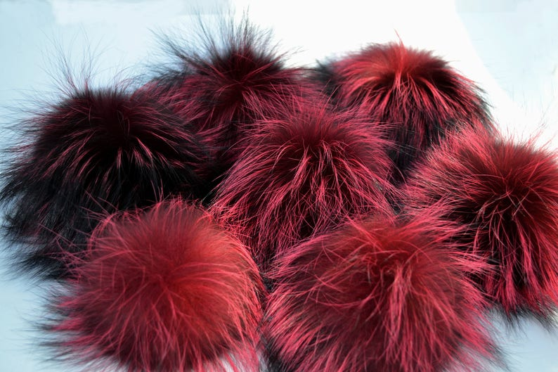 ea334476420 5 to 8 LARGE SILVER FOX Pom Poms Double Silver
