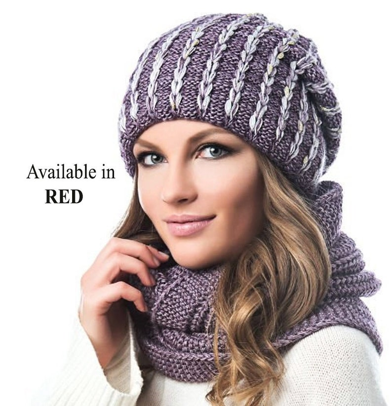 4c9643fb184 WINTER WOMAN HAT and Infinity Scarf Set Braided Cable Hat