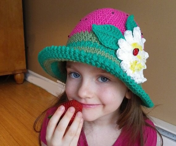Crochet Hat Pattern Crochet pattern Brimmed hat with flower  b0d49fb180f