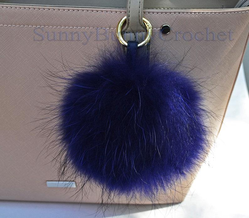 7a416bcd502b 7 BLUE FUR POM Pom Keychain Large Raccoon Bag Charm