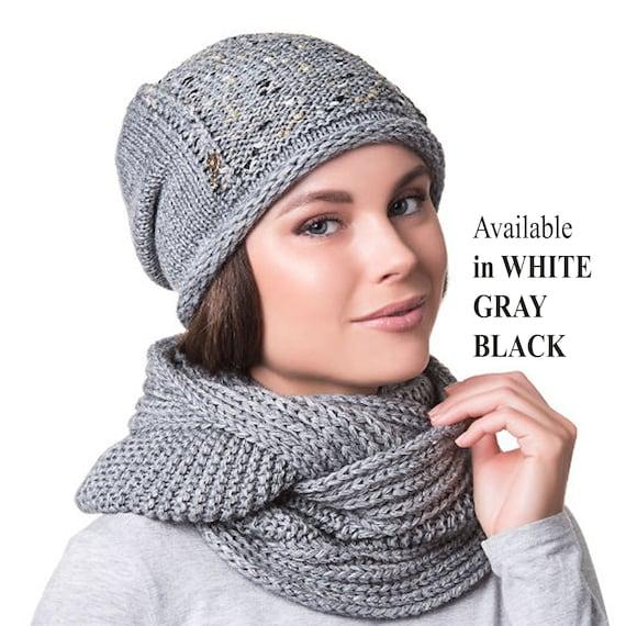 meilleur site web fc15d cbb3b TRICOT bonnet femme, bonnet et écharpe ensemble, chapeau d'hiver pour  femme, foulard, accessoires d'hiver, par temps froid ensemble, bonnet  tricoté, ...