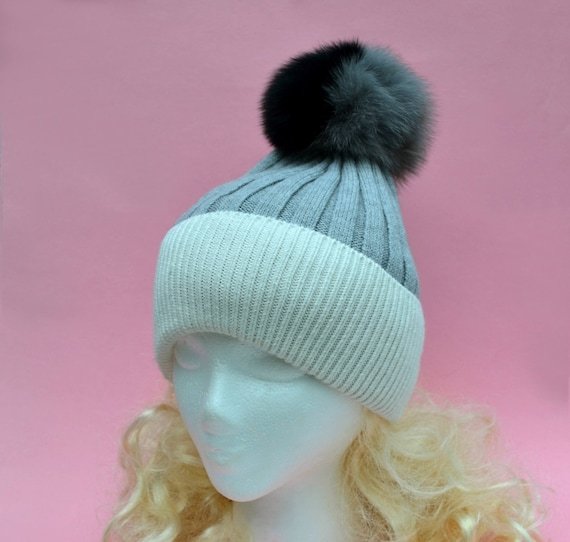 ab764f9a373 Wool Cable Knit Pom Pom Beanie Hat for Women and Girls Real