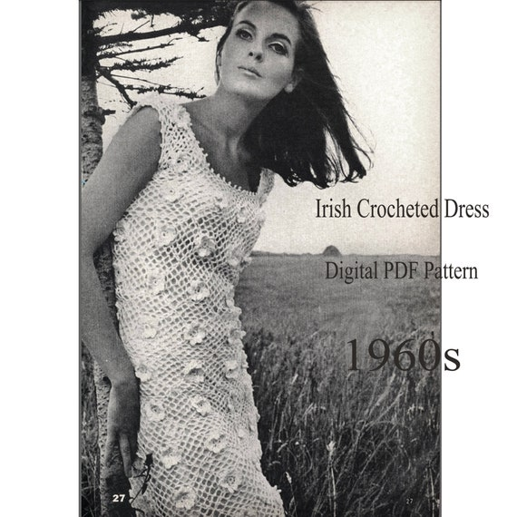 Vintage Crocheted Dress Pattern Retro 1960s Irish Lace Short Etsy