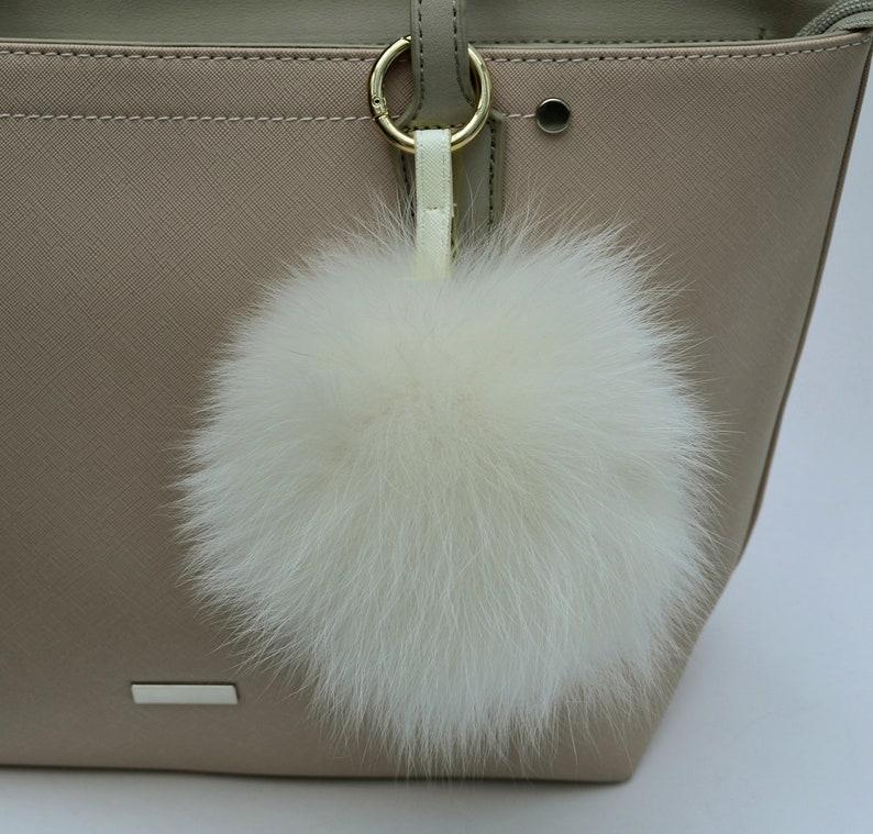 85e640e0c1c2 6 WHITE FUR POM Pom Key chain Large Fox Bag Charm Key