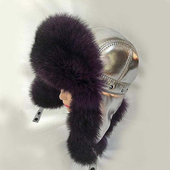 Silver Metallic Hat Rabbit Fur Earflap Fur Hat Fur Hat Russian Hat Ushanka Trapper Hat Gift for Her Aviator Hat WOMEN REAL FUR Hat