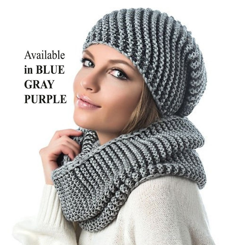 ba9baa7266e WINTER WOMAN HAT and Infinity Scarf Set Diagonal Rib Hat