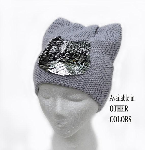 Beanie cappello con paillettes mutevole reversibile Applique  8a59971a7a77