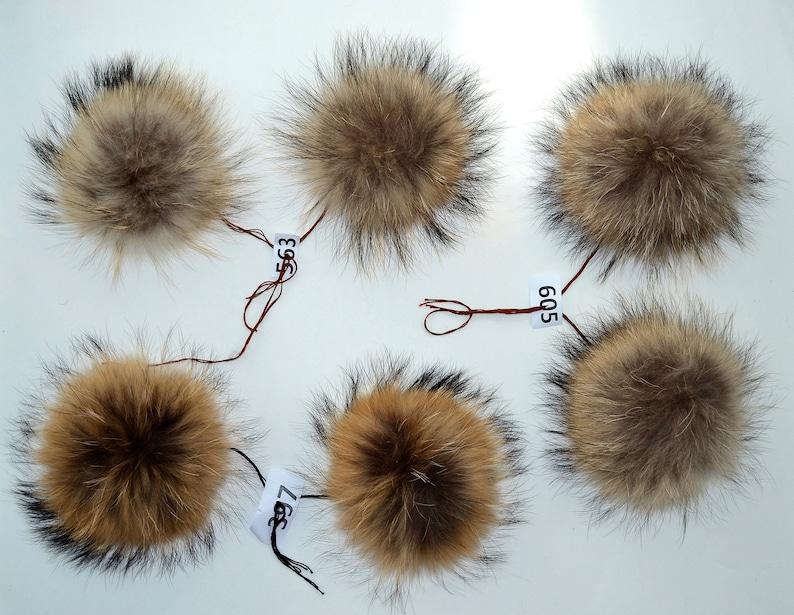 3e189b1456ff1 7 to 85 RACCOON FUR Pom Poms PAIR Raccoon Pom