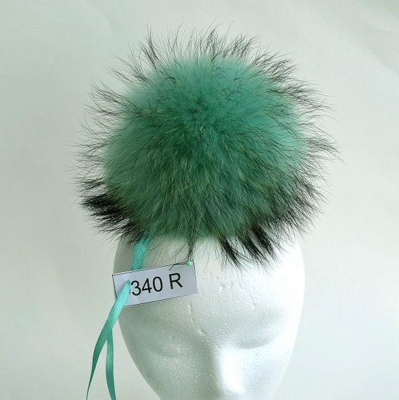 5669fbd0639 85 LARGE FUR POM Pom High Quality Green Raccoon Pom