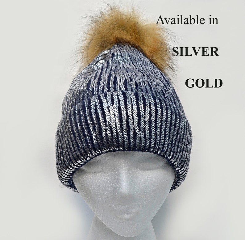 ca0607644 Gold Metallic Beanie Shiny Sparkle Chunky Knit Party Winter Silver Skull  Pom Pom Hat Cap Large Faux Fur Pom Pom Women Girl Teen Beanie