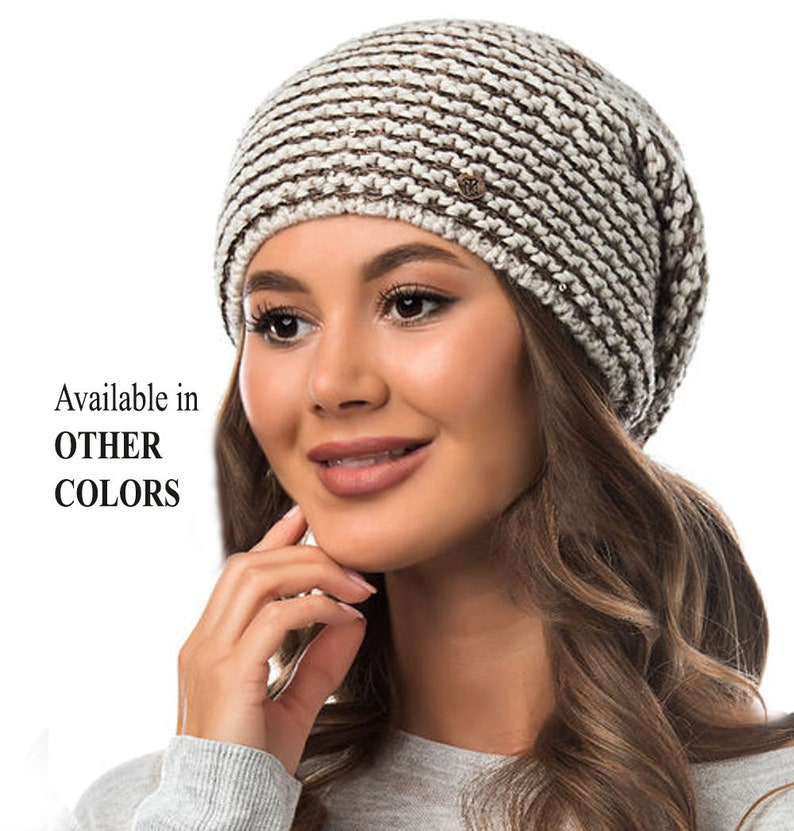 2ce7ee82 KNITTED SLOUCHY BEANIE Girl Slouchy Knitted Wool Winter Woman | Etsy