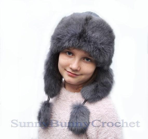 RABBIT FUR HAT Ear Flap Hat Kids Hat Ushanka Hat Child  4f7fada1739