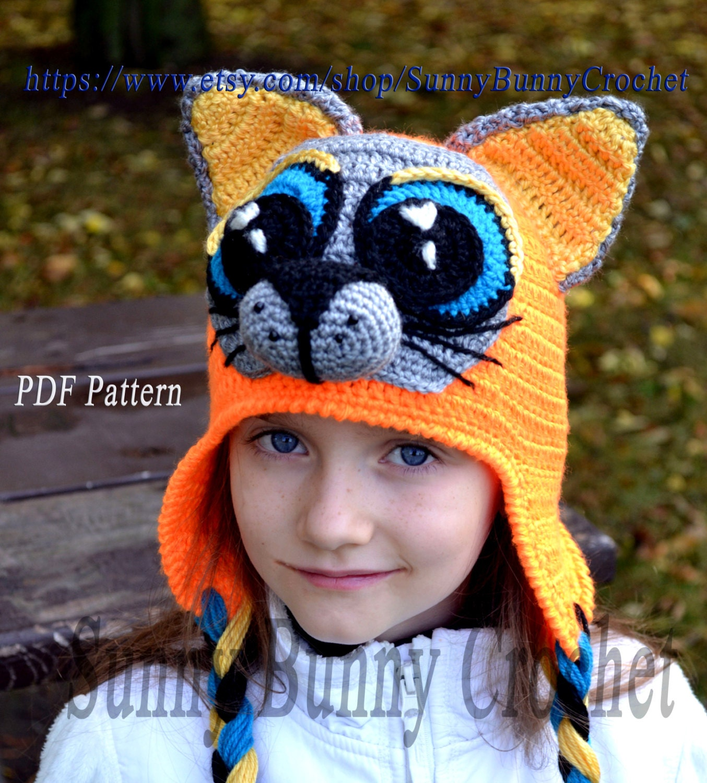 Crochet Hat pattern, Crochet Pattern, Child Animal Hat, Cat hat ...