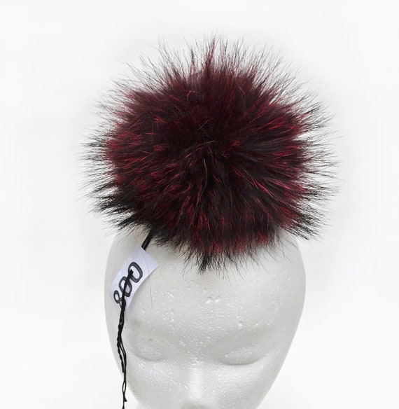 65a3774c722 8 LARGE RACCOON Pom Pom Red Raccoon Pom Pom Large Fur