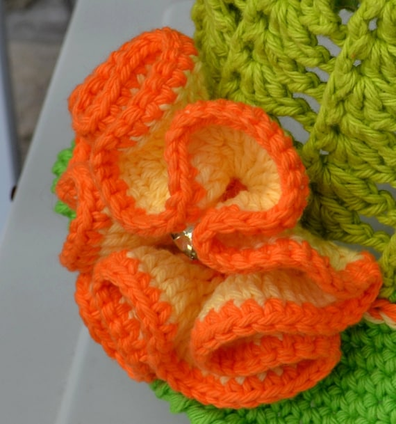 Flower Crochet Pattern Big Flower With Diamond Center Etsy