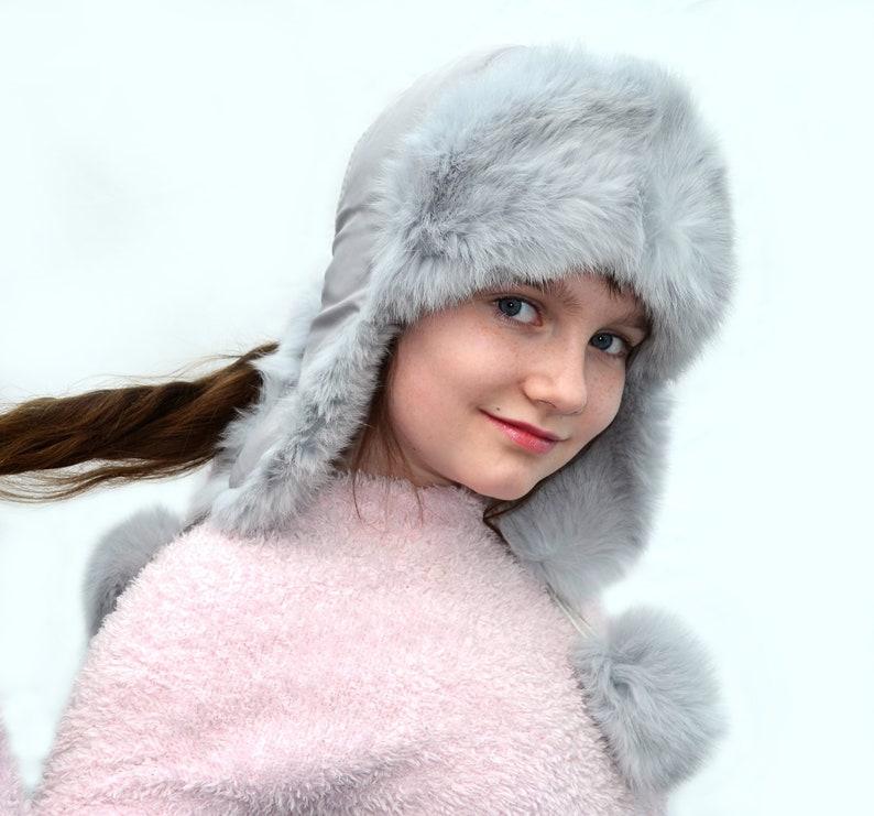 012d4244df673 EAR FLAP HAT, Aviator Hat, Rabbit Fur Hat, Ushanka Hat, Child Hat, Fur Hat  with Ear Flaps, Warm Kids Hat, Trapper Hat, Girl Hat, Real Fur