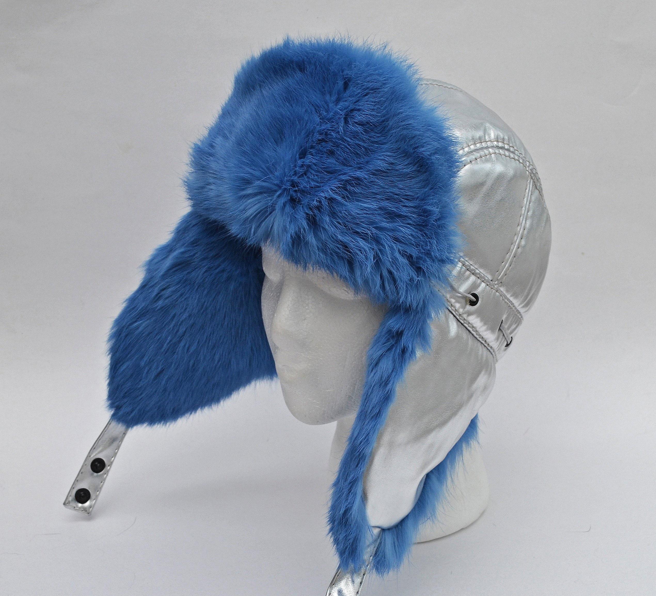 317779802 Silver Metallic Hat, Women Real Fur Hat, Girl Ear Flap Hat, Aviator Hat,  Ushanka, Trapper Hat, Russian Hat, Rabbit Fur, Fur Hat, Gift Her