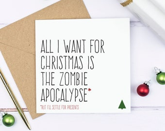 Zombie Christmas card, Funny Christmas zombie card, Zombie apocalypse Christmas cards