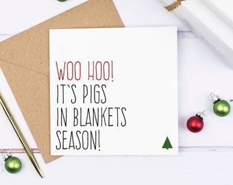Food Christmas cards, Funny Christmas card pack, Pigs in blankets xmas card