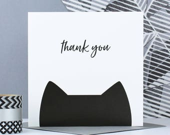 Cat thanks or thank you card set for crazy cat lady, appreciation card