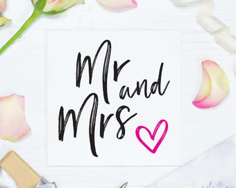 Mr and Mrs wedding card, Congratulations Mr & Mrs Engagement cards, Wedding day greeting cards, Bridal shower card