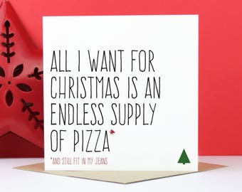 Greeting cards etsy pizza christmas card funny christmas card card for foodie card for pizza lover endless supply of pizza christmas card m4hsunfo