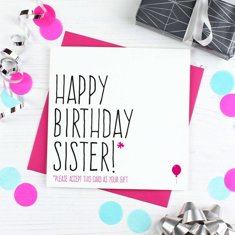 Sister Birthday Card Funny Birthday Card For Sister Sibling