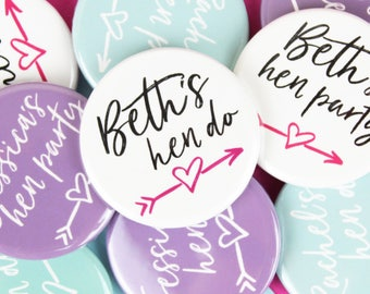 Personalised hen party badges, Hen do badge, Hen accessories, Hen party gift, Bachelorette party badge